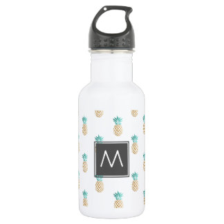 tropical fresh summer faux gold pineapple pattern 532 ml water bottle