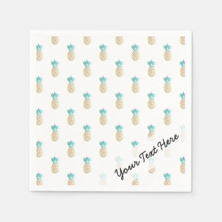 tropical fresh summer faux gold pineapple pattern disposable napkin