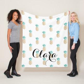 tropical fresh summer faux gold pineapple pattern fleece blanket