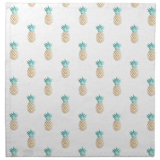 tropical fresh summer faux gold pineapple pattern napkin