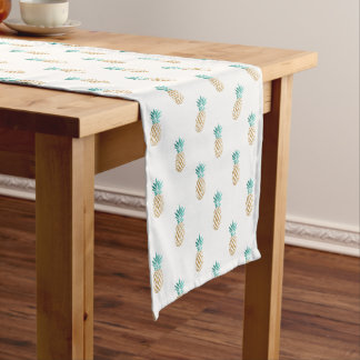 tropical fresh summer faux gold pineapple pattern short table runner