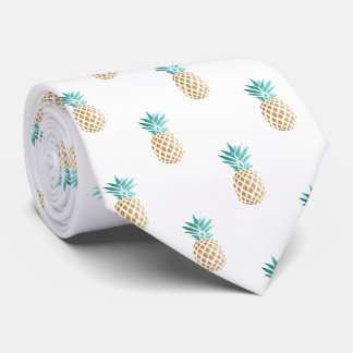 tropical fresh summer faux gold pineapple pattern tie