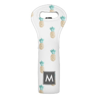 tropical fresh summer faux gold pineapple pattern wine bag