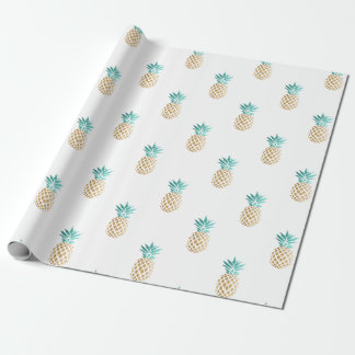 tropical fresh summer faux gold pineapple pattern wrapping paper