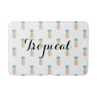 tropical fresh summer gold foil pineapple pattern bath mat