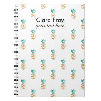 tropical fresh summer gold foil pineapple pattern note book