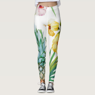 Tropical Fruit and Flowers Leggings