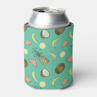 Tropical Fruit Doodle Pattern Can Cooler