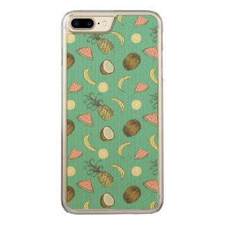 Tropical Fruit Doodle Pattern Carved iPhone 8 Plus/7 Plus Case