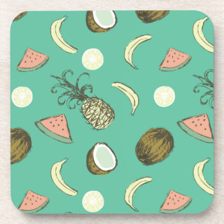 Tropical Fruit Doodle Pattern Coaster