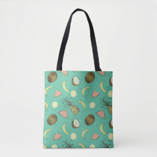 Tropical Fruit Doodle Pattern Tote Bag
