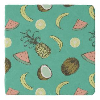 Tropical Fruit Doodle Pattern Trivet