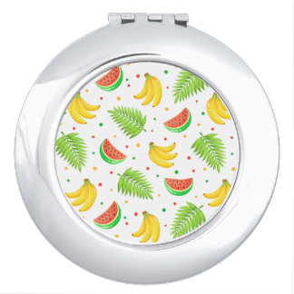Tropical Fruit Polka Dot Pattern Compact Mirrors
