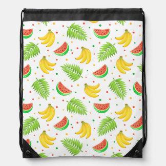 Tropical Fruit Polka Dot Pattern Drawstring Bag