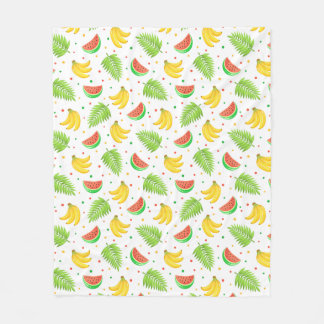 Tropical Fruit Polka Dot Pattern Fleece Blanket