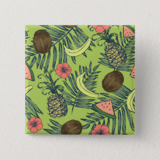 Tropical Fruit Sketch on Green Pattern 15 Cm Square Badge