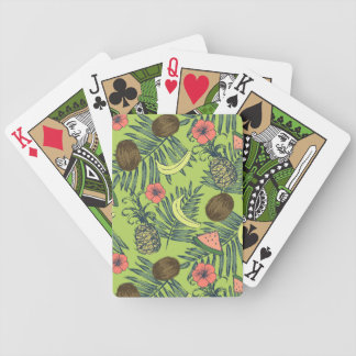 Tropical Fruit Sketch on Green Pattern Bicycle Playing Cards