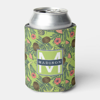 Tropical Fruit Sketch on Green Pattern Can Cooler