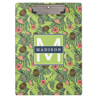 Tropical Fruit Sketch on Green Pattern Clipboard