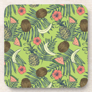 Tropical Fruit Sketch on Green Pattern Coaster