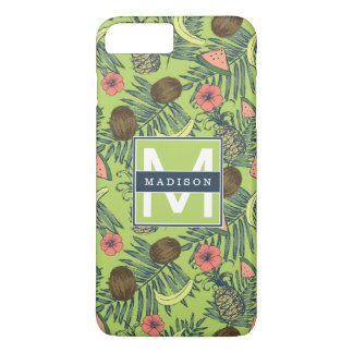 Tropical Fruit Sketch on Green Pattern iPhone 8 Plus/7 Plus Case