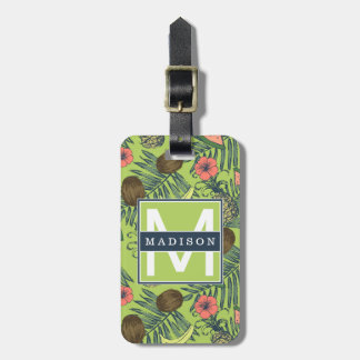 Tropical Fruit Sketch on Green Pattern Luggage Tag