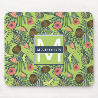 Tropical Fruit Sketch on Green Pattern Mouse Pad