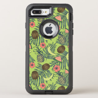 Tropical Fruit Sketch on Green Pattern OtterBox Defender iPhone 8 Plus/7 Plus Case