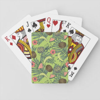 Tropical Fruit Sketch on Green Pattern Playing Cards