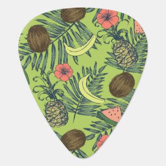 Tropical Fruit Sketch on Green Pattern Plectrum