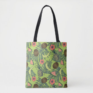 Tropical Fruit Sketch on Green Pattern Tote Bag