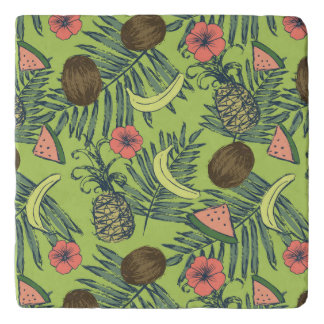 Tropical Fruit Sketch on Green Pattern Trivet