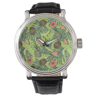 Tropical Fruit Sketch on Green Pattern Watch