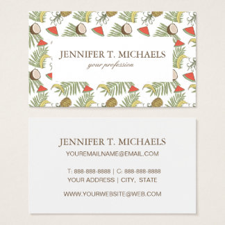 Tropical Fruit Sketch Pattern Business Card