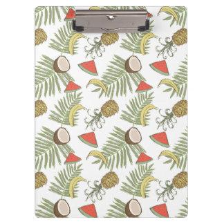 Tropical Fruit Sketch Pattern Clipboard