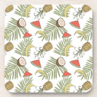 Tropical Fruit Sketch Pattern Coaster