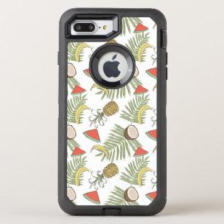Tropical Fruit Sketch Pattern OtterBox Defender iPhone 8 Plus/7 Plus Case