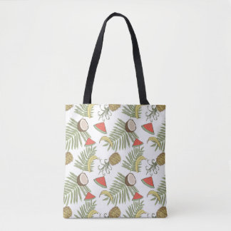 Tropical Fruit Sketch Pattern Tote Bag