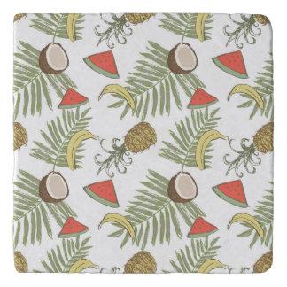 Tropical Fruit Sketch Pattern Trivet