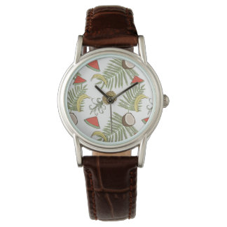 Tropical Fruit Sketch Pattern Watch