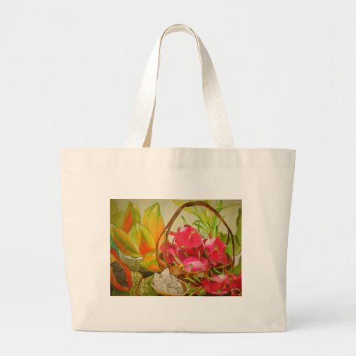 Tropical fruit watercolor still life art painting canvas bags