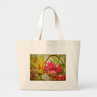 Tropical fruit watercolor still life art painting large tote bag