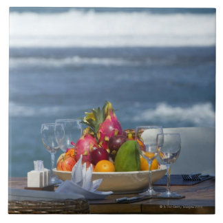 Tropical Fruits By The Ocean On Table 2 Large Square Tile