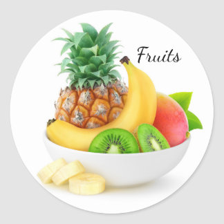 Tropical fruits in a bowl classic round sticker