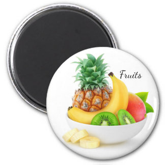 Tropical fruits in a bowl magnet