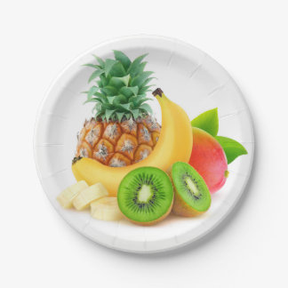 Tropical fruits paper plate
