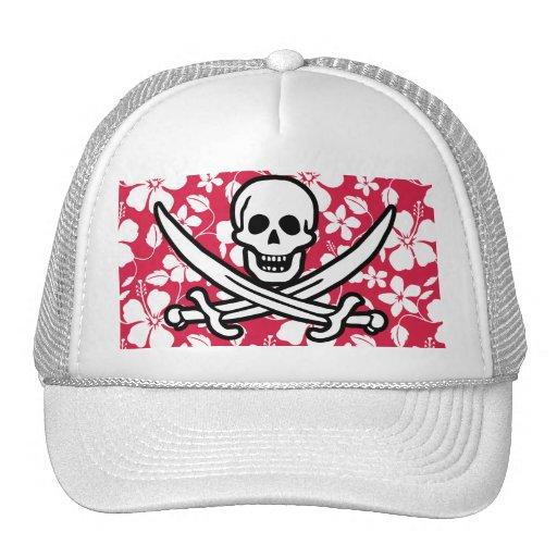 Tropical Fuschia Hibiscus Jolly Roger Hat