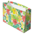 Tropical garden, hibiscus plumeria and palm leaves large gift bag