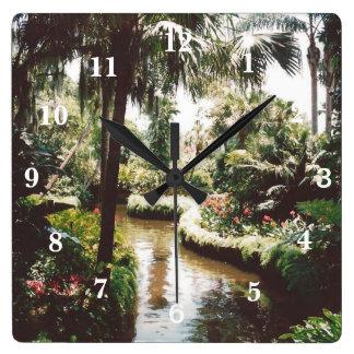 Tropical Garden Paradise Square Wall Clock