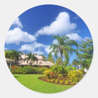 Tropical garden round sticker